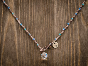 Blue Mixed Rondelle Beaded Necklace