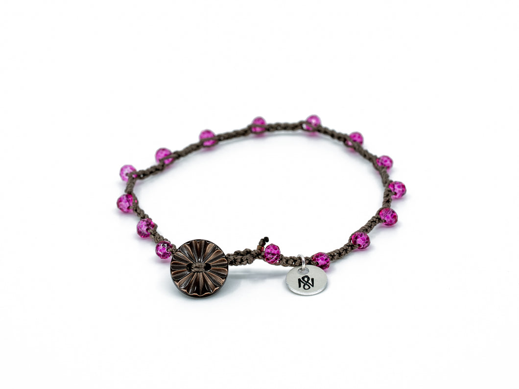 Fuchsia Glass Beaded Bracelet/Anklet w/ sunburst Button