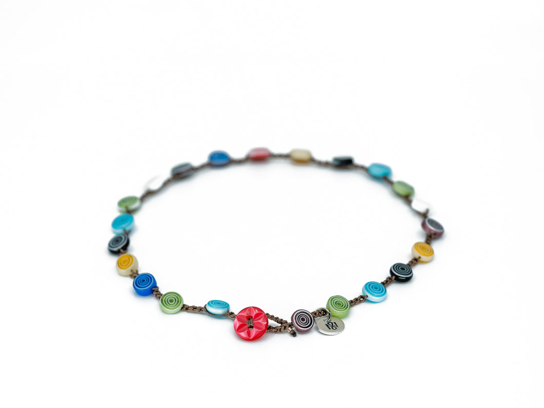 Rainbow of Colors Necklace - Button