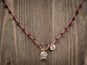Plum Purple Seed Beads Beaded Necklace