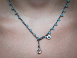 Light Blue Glass Beaded Necklace