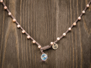Pink Bamboo Beaded Necklace
