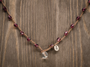 Fire Polished Amethyst Beaded Necklace