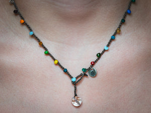 Rainbow of Colors Necklace - Glass Bead