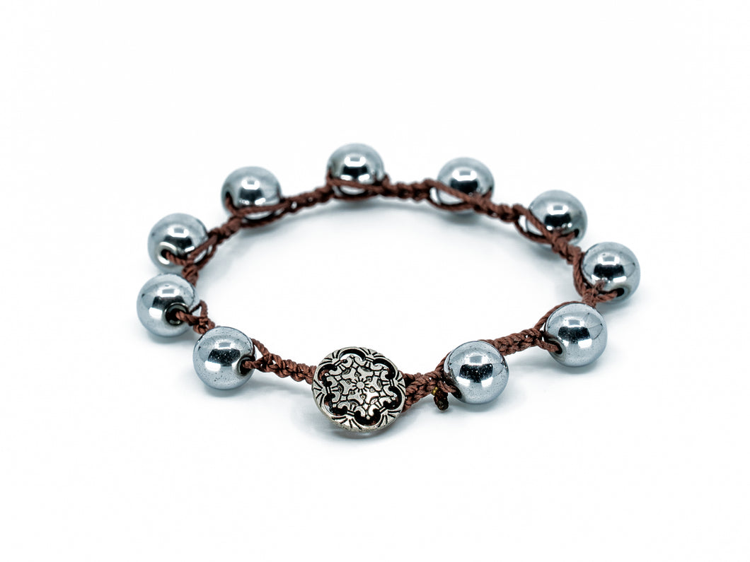 Hematite Stone Beaded Bracelet/Anklet w/ Antiqued finish metal Button