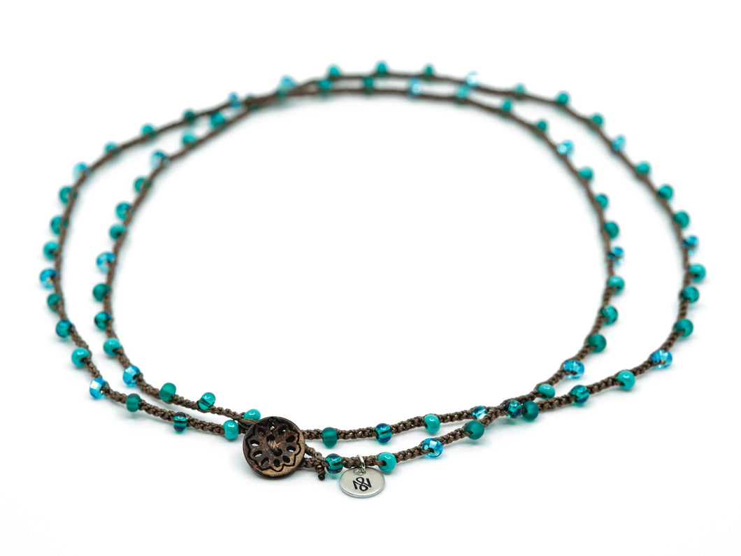 Double Wrap Retro Blue Beaded Necklace