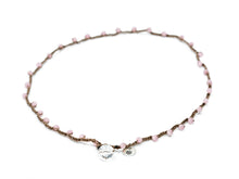 Load image into Gallery viewer, Matte Pink Cat's Eye Beaded Necklace
