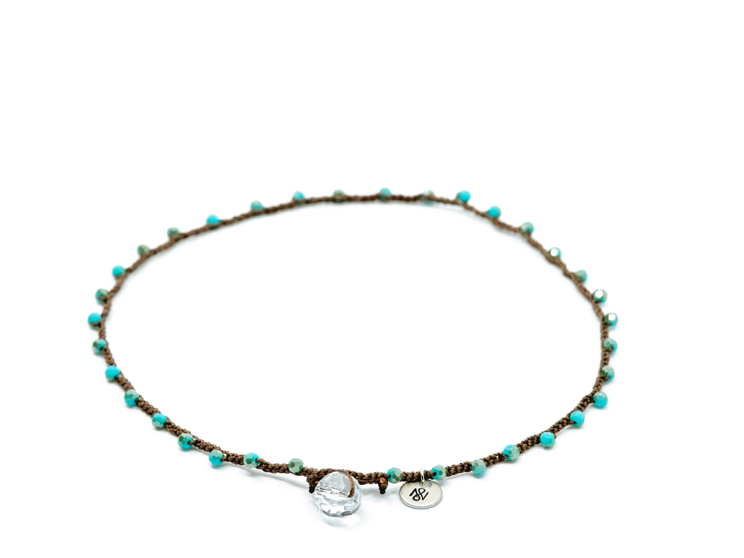 Turquoise Glass Beaded Necklace