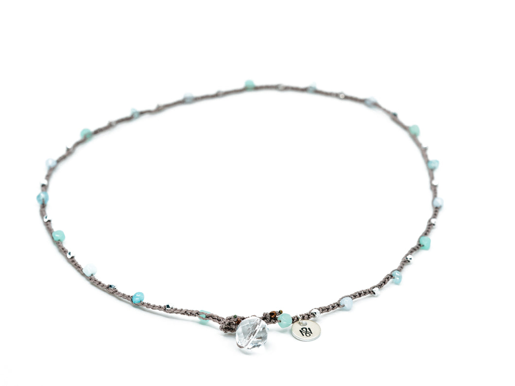 Aqua and Silver Mixed Beaded Necklace