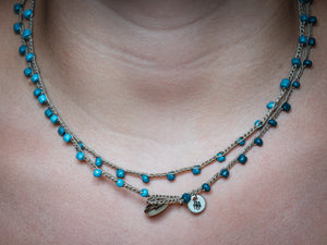 Double Wrap Mixed Blue Seed Beads Necklace