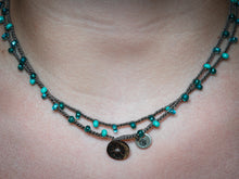 Load image into Gallery viewer, Double Wrap Retro Blue Beaded Necklace