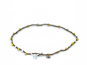 Yellow and White Glass Beaded Necklace