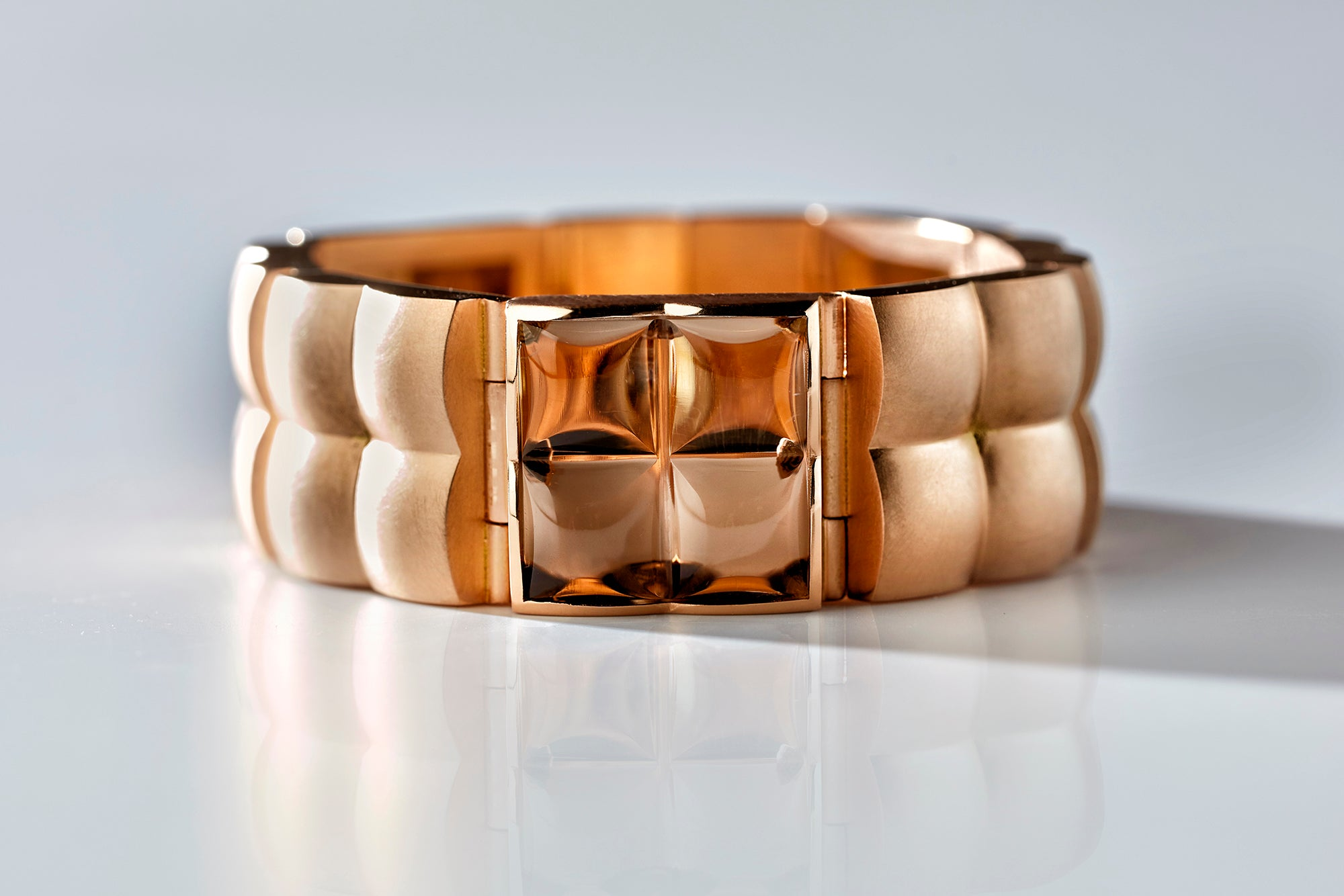 square bracelet, 18k bronze rose gold, smokey quartz, jewellery by rembrandt jordan