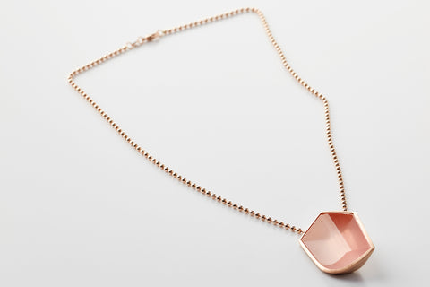 necklace hidden secret, rose quartz, 18k red gold, jewellery by rembrandt jordan