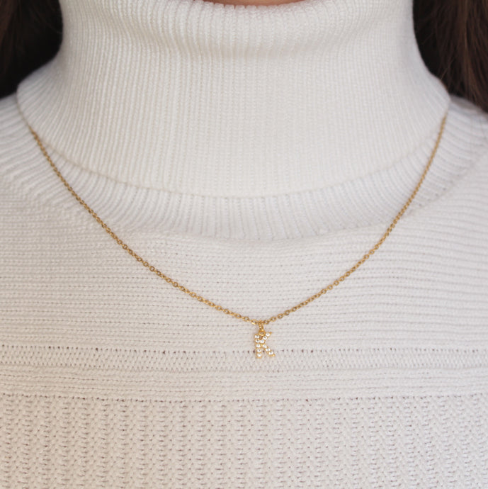 Custom Pave Single Initial Necklace