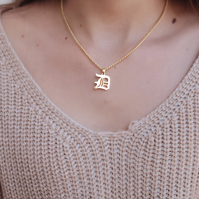 custom old english initial necklace