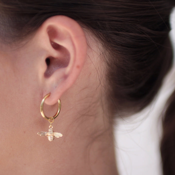 Small Bee Hoop Earrings