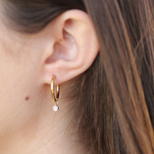 16k gold birthstone hoop earrings