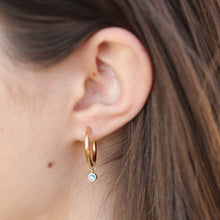 Load image into Gallery viewer, 16k gold birthstone hoop earrings