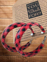 Load image into Gallery viewer, Women's Plaid Round Leather Earrings