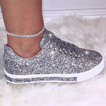 Load image into Gallery viewer, Women's Lace Up Sneakers Sequined Glitter Trainers Limited Edition