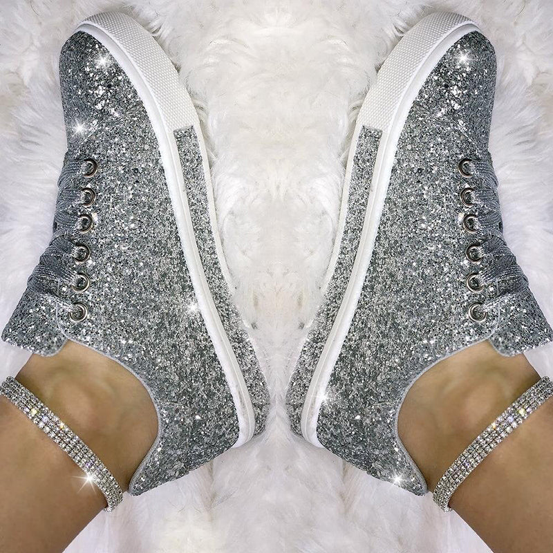 Women's Lace Up Sneakers Sequined Glitter Trainers Limited Edition