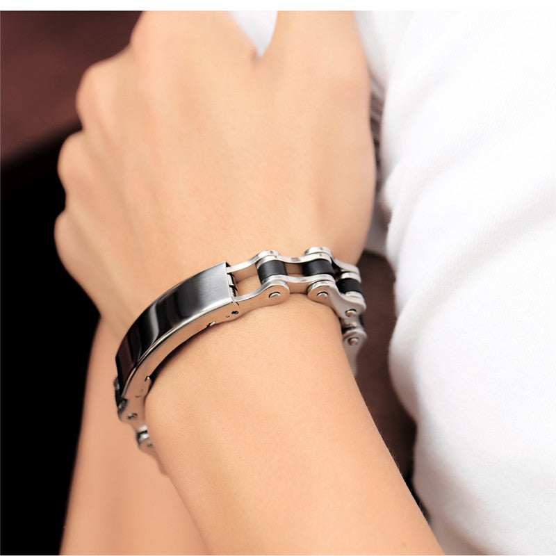 New Punk Style Design Stainless Steel Silicone Blk Bracelet,Wristband. - freecare.me