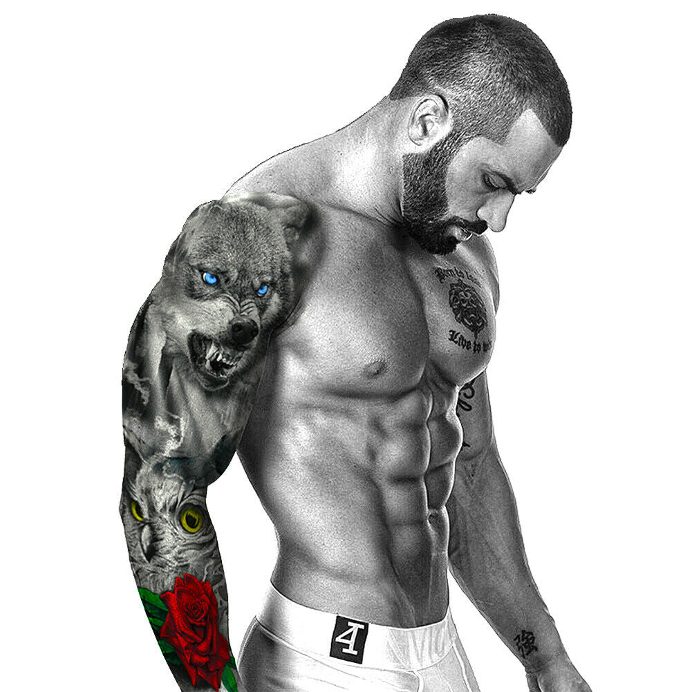 Men & Women Full Waterproof  Fake  Arm Sleeve Temporary Tattoo Sticker.