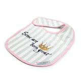 Crown White with Grey Stripes and Pink Edging Baby Bib