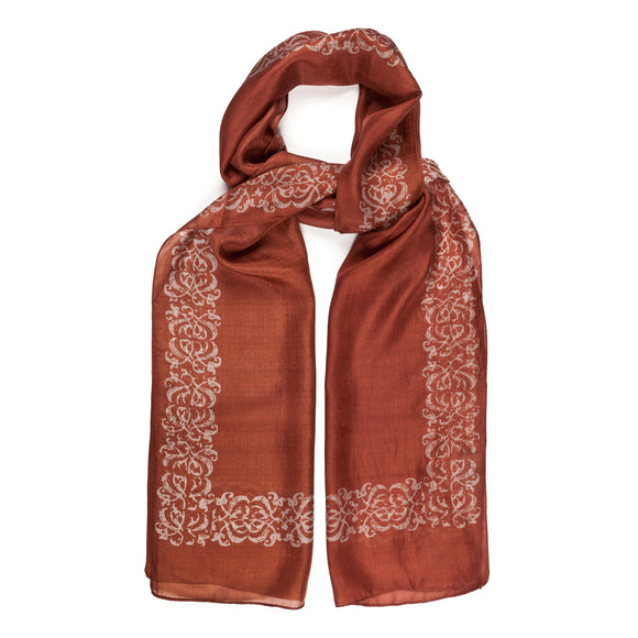 Decorative Border Russet Silk Scarf