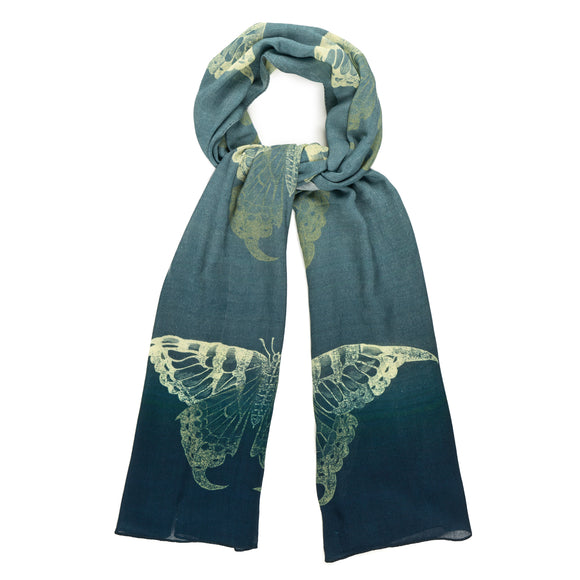 Swallowtail Butterfly Blue Ombré Scarf