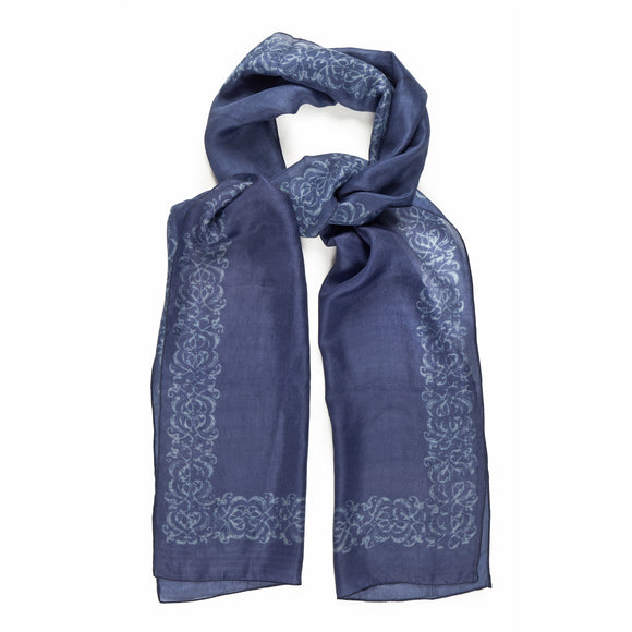 Decorative Border Blue Silk Scarf