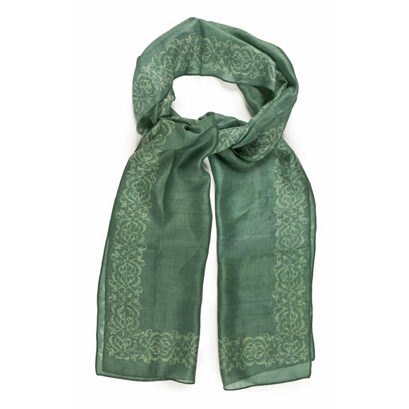 Decorative Border Green Silk Scarf