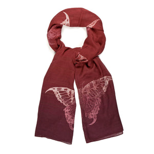 Swallowtail Butterfly Red Ombré Scarf