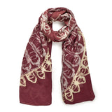Filigree Design Plum Scarf