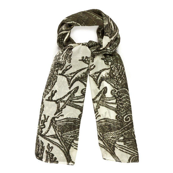 Ships Black and Cream Silk Scarf
