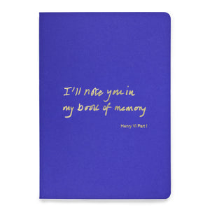 Colourblock A5 Notebook 'I'll note you in my book of memory'