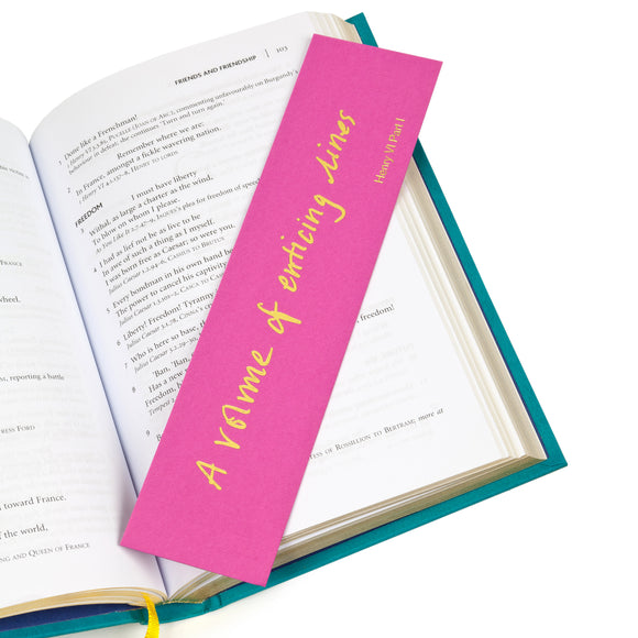 Colourblock Bookmark 'A volume of enticing lines'