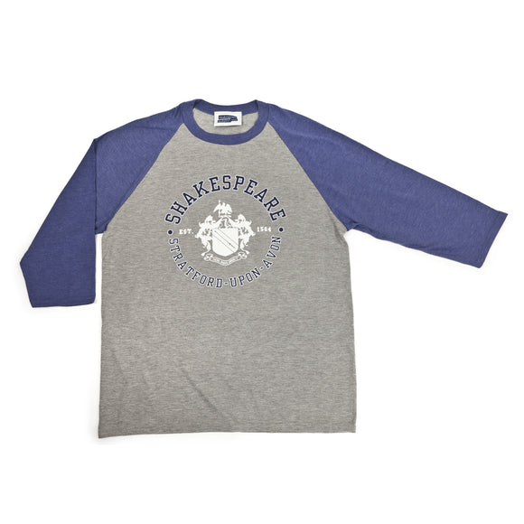 Shakespeare Coat of Arms Grey & Blue Baseball Tee