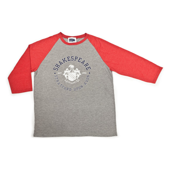Shakespeare Coat of Arms Grey & Red Baseball Tee
