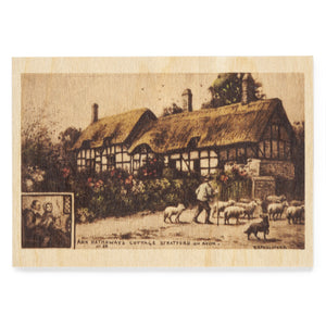 Wooden Postcard Anne Hathaway's Cottage from the Road