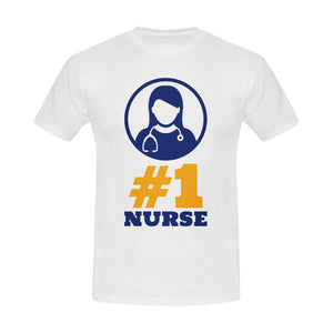 #1 Nurse, Men's tee Men's Gildan T- shirt(USA Size)(Model T02) S White