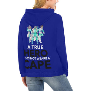 A true hero does not wear cape, Women's hoodie Women's All Over Print Hoodie (USA Size) (Model H13)