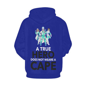 A true hero does not wear cape, Women's hoodie Women's All Over Print Hoodie (USA Size) (Model H13) X-Small Blue