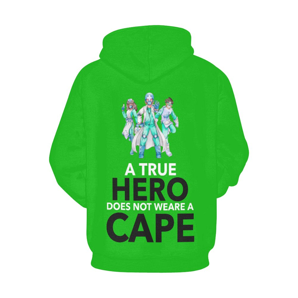 A true hero does not wear cape, Women's hoodie Women's All Over Print Hoodie (USA Size) (Model H13) X-Small Green