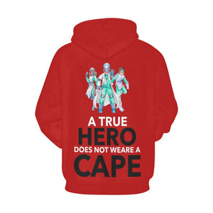 A true hero does not wear cape, Women's hoodie Women's All Over Print Hoodie (USA Size) (Model H13) X-Small Red