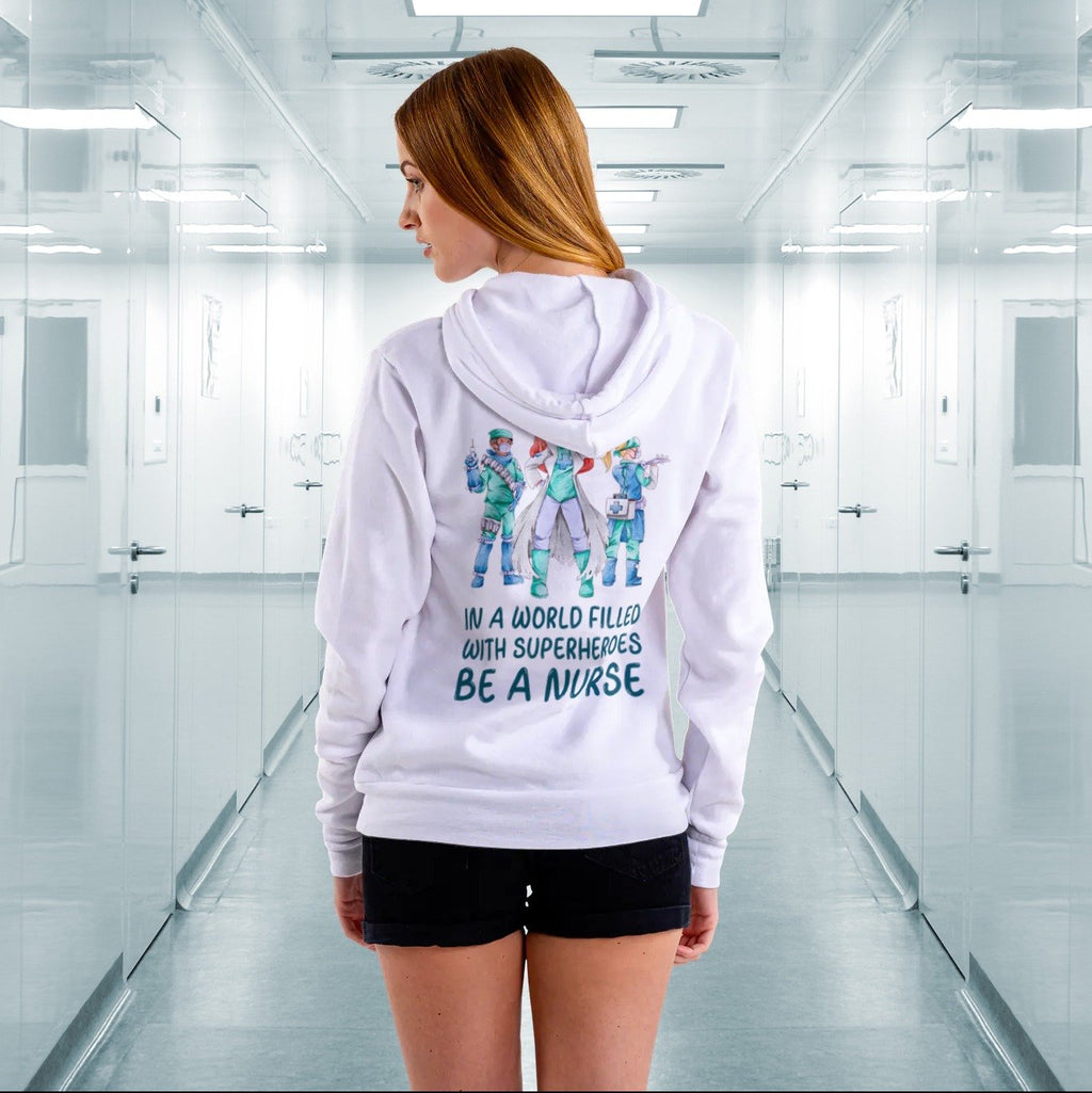 In a world filled with superheroes be a nurse, Women's hoodie Women's All Over Print Hoodie (USA Size) (Model H13)