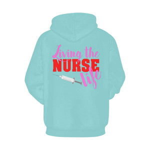 Living the nurse life Women's scrubs hoodie Women's All Over Print Hoodie (USA Size) (Model H13) XS