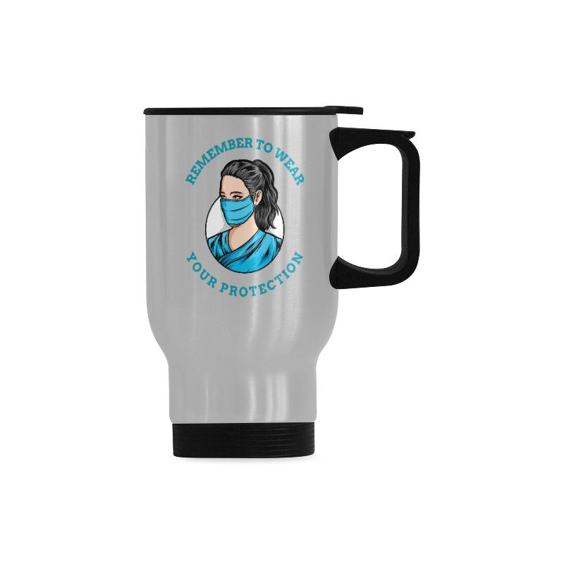 Remember to wear your protection, Travel Mug Travel Mug (Silver) (14 Oz) One Size
