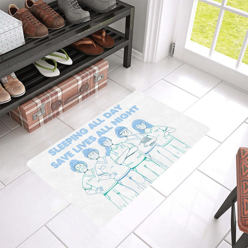 "Sleeping all day, Doormat Doormat 24""x16""(Rubber) One Size White"